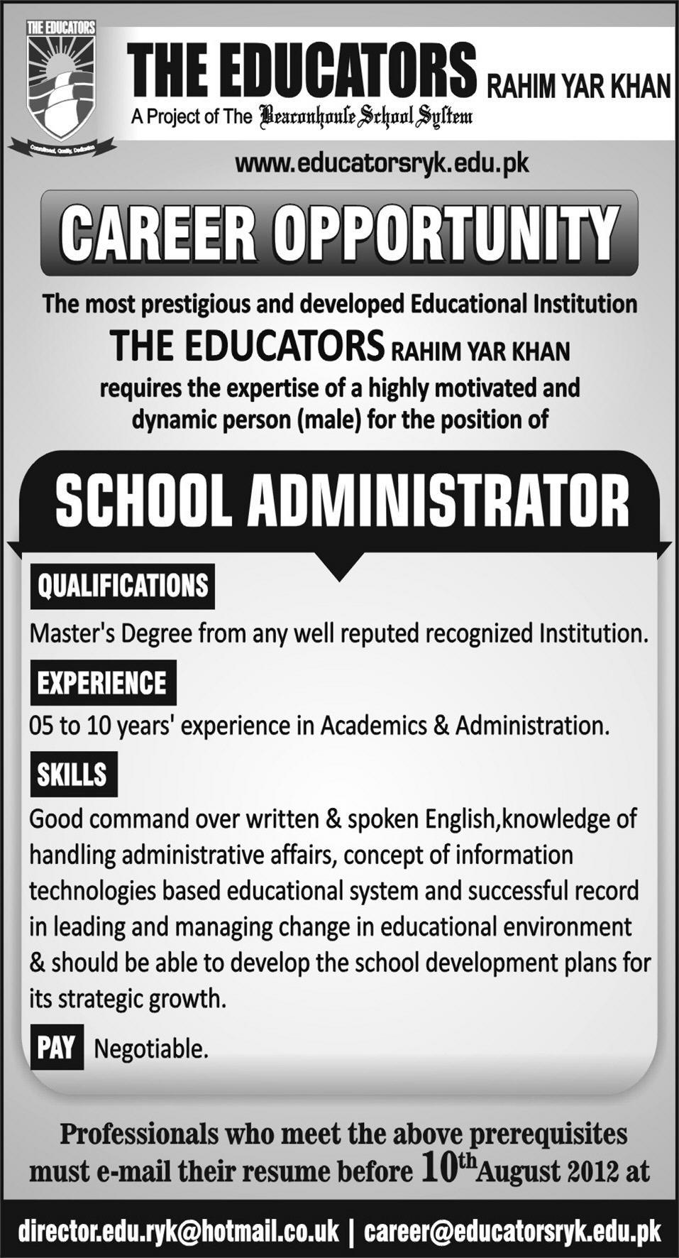 jobs in the educators Jobs in the Educators Rahim Yar Khan   Express Newspaper Jobs