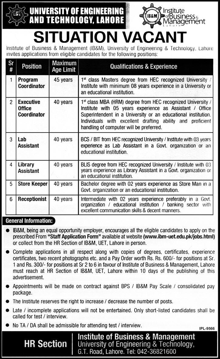jobs in uet lahore express newspaper Teaching, Non Teaching Jobs in UET Lahore