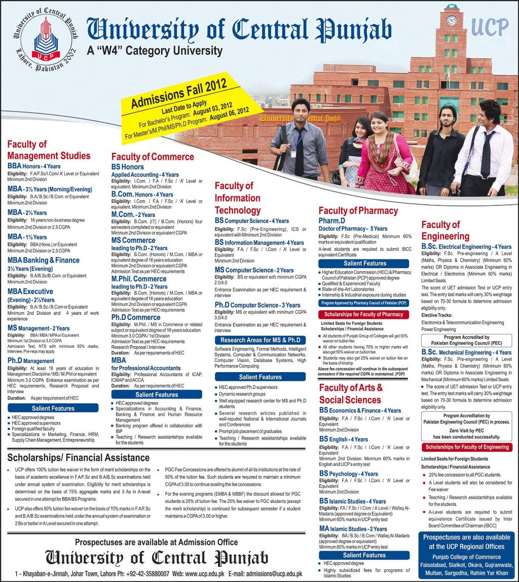 university of the central punjab BBA, BS, MBA, BSc Admissions 2012 in University of Central Punjab